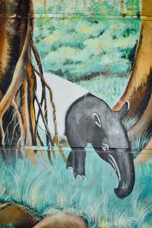 mural of tapir in Sarikei, Sarawak
