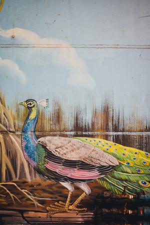 mural of peacock in Sarikei, Sarawak