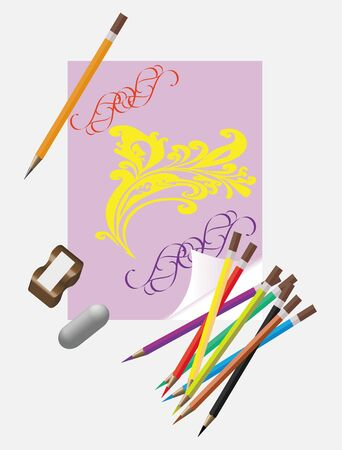 coloring sheets: Art tools for drawing.