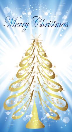 furtree: New Years gold fur-tree. A Christmas fur-tree in blue beams
