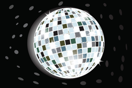 retro party background with disco ball, illustration Vector
