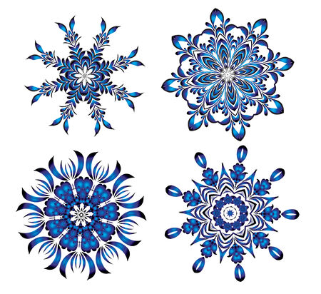Beautiful,blue New Years snowflakes by Christmas