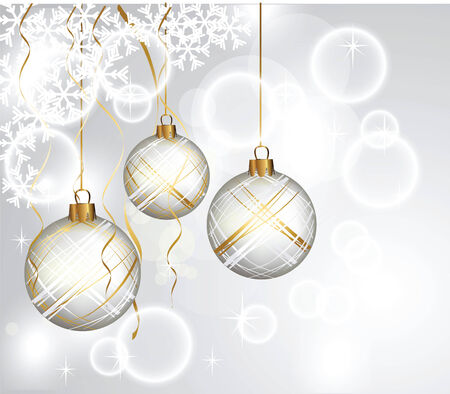 New Years balls on a gray background. A Christmas card
