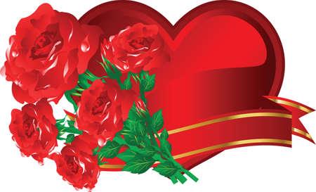 prickles: bella cuore con Rose per s. Valentino. illustrazione vettoriale Vettoriali