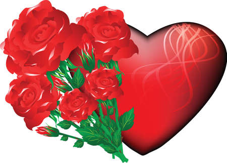 a bouquet of roses with a red heart for the holiday Vector