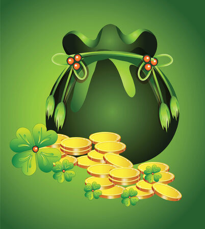 clover banners: Pot with gold to St. Patricks Day