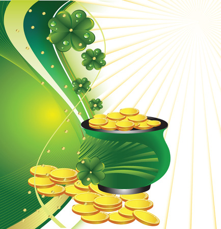 pot of gold: Pot with gold to St. Patricks Day