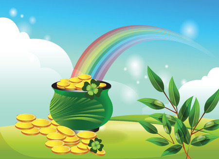green and gold: Pot of gold with a rainbow. St. Patricks Day