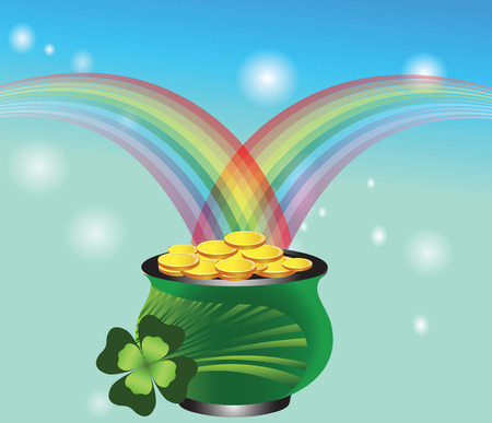 Pot of gold with a rainbow. St. Patricks Day Vector