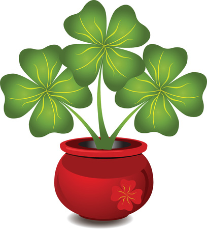 Brightly red pot with a clover Vector