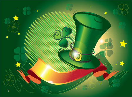 Beautiful green hat by a holiday Vector