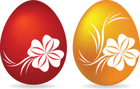 Red and yellow egg on a white background Vector