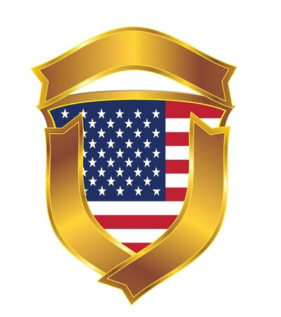 The American flag in an emblem Stock Vector - 9679810
