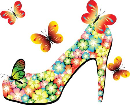 Summer shoes with butterflies