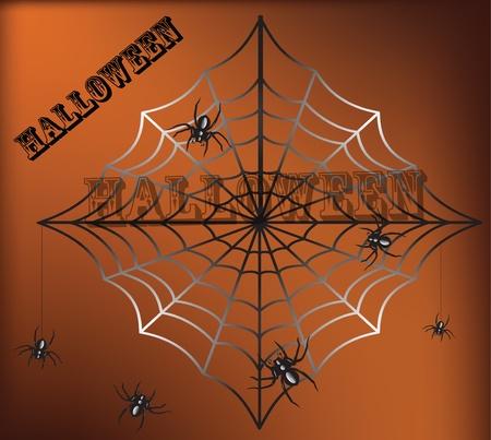 arachnophobia: Spider and a web on a black background Illustration