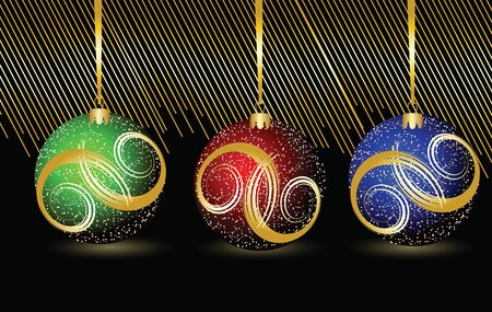 Three colored Christmas spheres on a black background