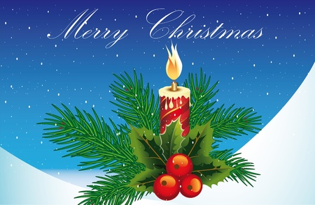 conflagrant: new-year postal with a conflagrant candle Illustration