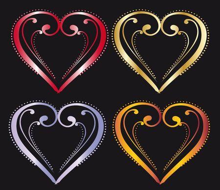 enamoured: Multi-colored hearts to Valentine Illustration