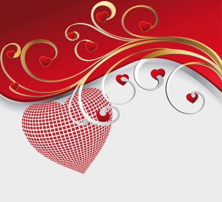 Heart from a mosaic with an ornament Vector