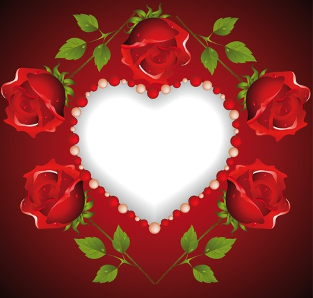 Heart from beads with roses Vector