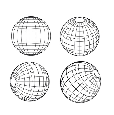 latitude: Illustration: original globe elements-spheres