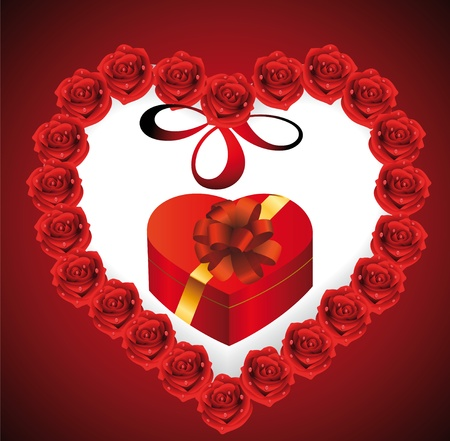 Heart from roses in which gift Vector