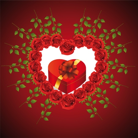 Heart from roses in which gift Stock Vector - 12066017