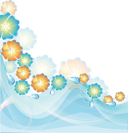 patch of light: Summer card with blue and orange colors Illustration