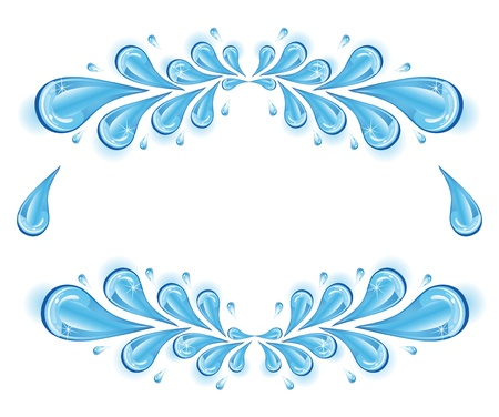 Blue sparkling drops of water on a white background. Stock Vector - 12484618