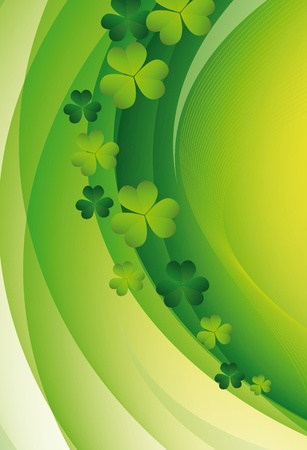 Green clover in sun beams. St. Patricks Day Illustration
