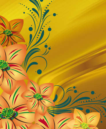 abstract yellow background with flowers