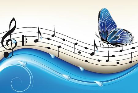 歌: フライング バタフライとブルー抽象的な背景ノート