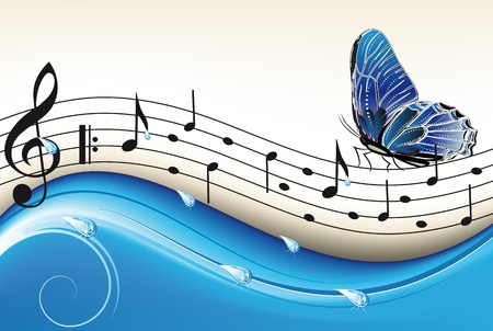 melody: notes on a blue abstract background with a flying butterfly