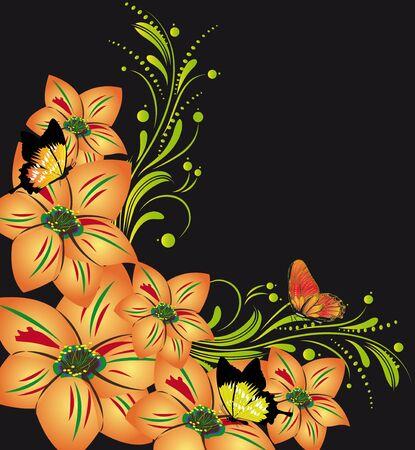 lily leaf: black background with flowers  summer Illustration