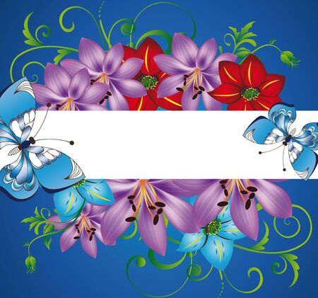 blue background with flowers, an ornament and butterflies Vector