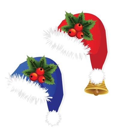 Christmas caps with mountain ash berries Vector
