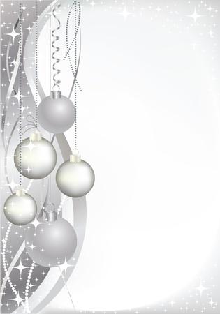 silver balls: Christmas card with greyish balls