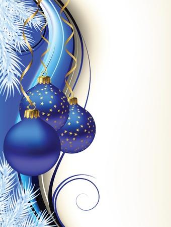 weihnachten tanne: Weihnachtskarte mit dunkelblauen Kugeln Illustration