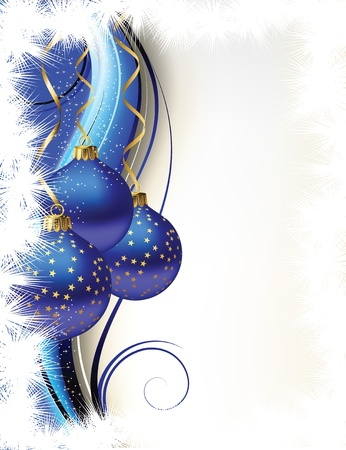 Christmas card with dark blue spheres Illustration
