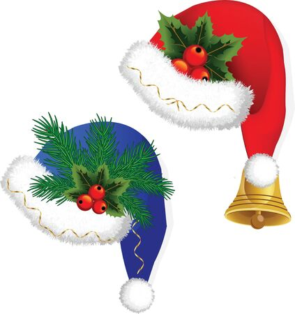Christmas hats with fur Stock Vector - 16458878