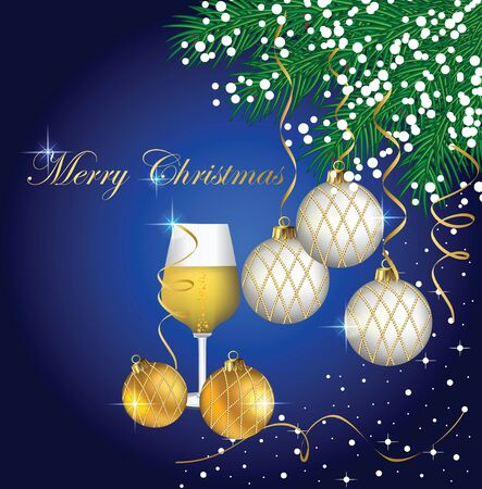 Christmas card with a champagne glass Stock Vector - 16646435