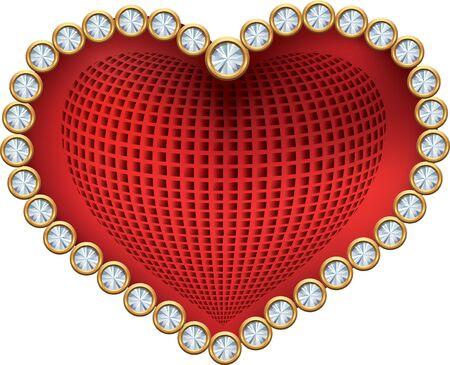 heart diamond: Red heart with diamonds