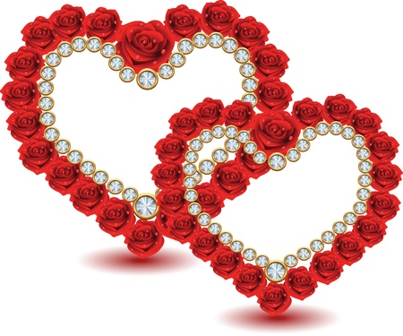 heart from red roses and diamonds Vector