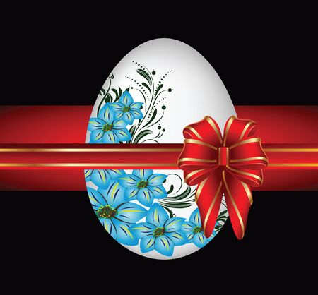 White egg with blue flowers. Vector illustration