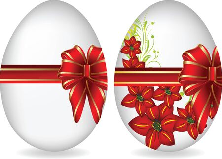 Easter eggs tied up by a bow. Illustration