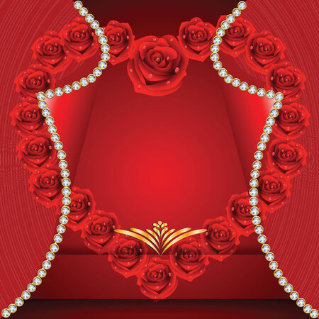 st valentin: Card with heart from roses to St. Valentine