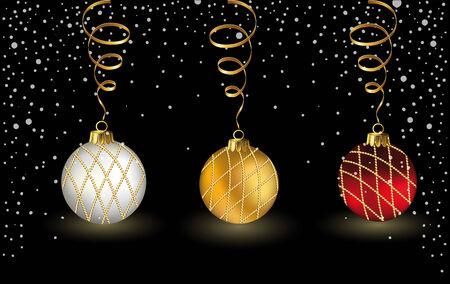 Christmas card with three Christmas balls