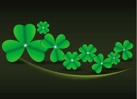 Clover leaflets on a black background to St. Patrick Vector