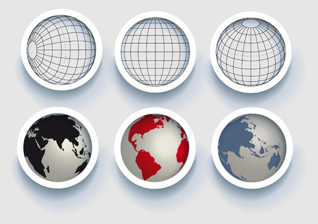 globe: Illustratie: originele elementen globes-sferen Stock Illustratie