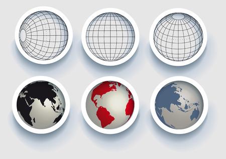globo terraqueo: Ilustración: original, globos elementos-esferas